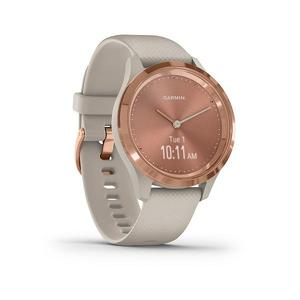 Garmin Vivomove 3S Rose Gold met zandkleurig siliconen band