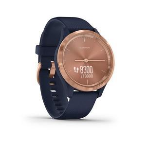 Garmin Vivomove 3S Gold met navy blauwe siliconen band