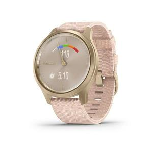 Garmin Vivomove Style Champagne met Dust Rose geweven nylon polsband